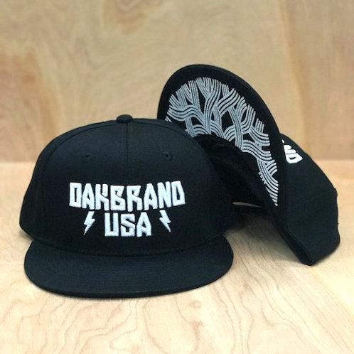 """Oakbrand SNAP BACK white """"puff"""" logo"""