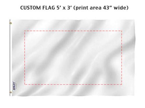 CUSTOM FLAG 5' x 3'+ 1 hr Graphic Design