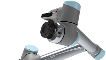 The SensONE force torque sensor with a 3D camera attached to the sensor's body on a Universal Robot