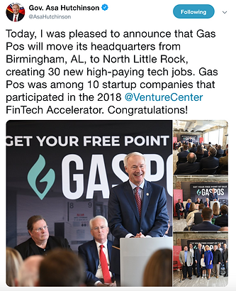 Governor Asa Hutchinson tweetin about Gas Pos