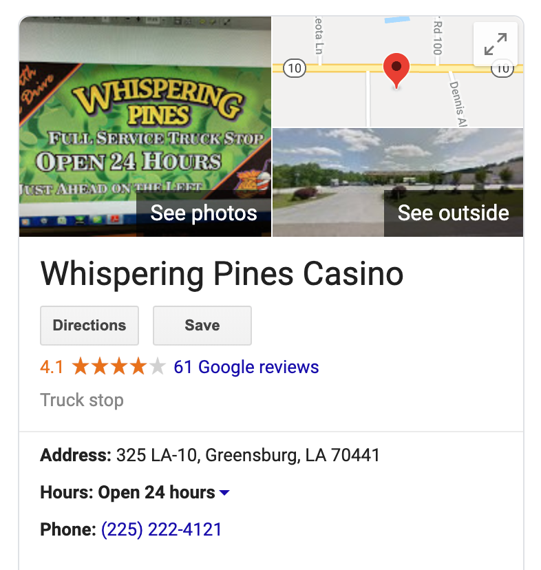 gas station pos customer Whispering Pines Truck Stop & Casino