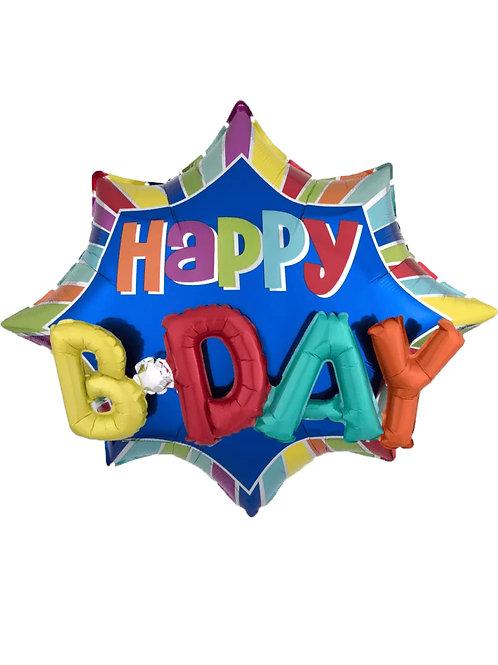 "Happy Birthday Burst 3D 35"" (168)"