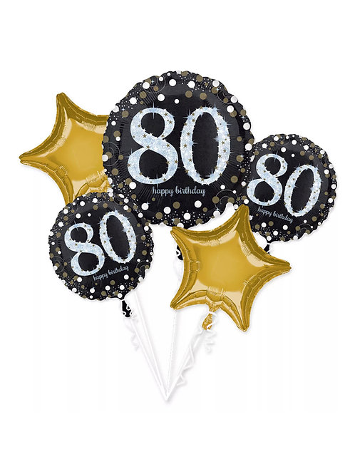 80th Birthday Black, Silver, Gold Bouquet 226