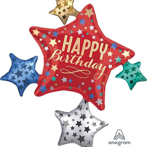 "Birthday Satin Star Cluster 35"" Mylar"