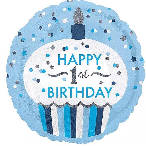 "First Birthday Blue Cupcake 18"" Mylar"