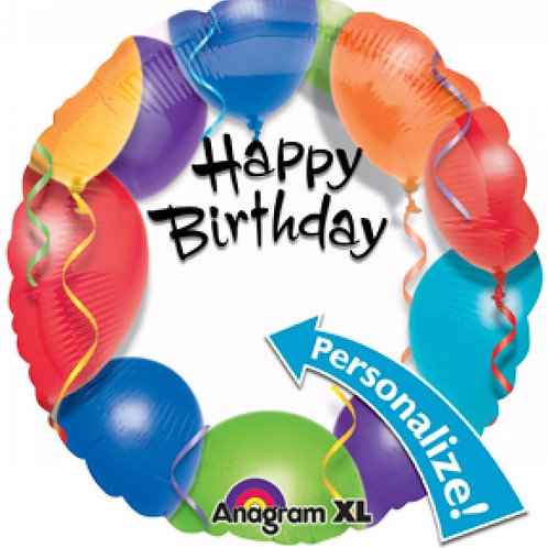 "18"" Personalize Happy Birthday Mylar Balloon 158"
