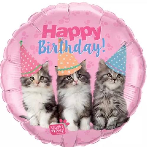 """Happy Birthday Kittens 18"""" Mylar (309)"""