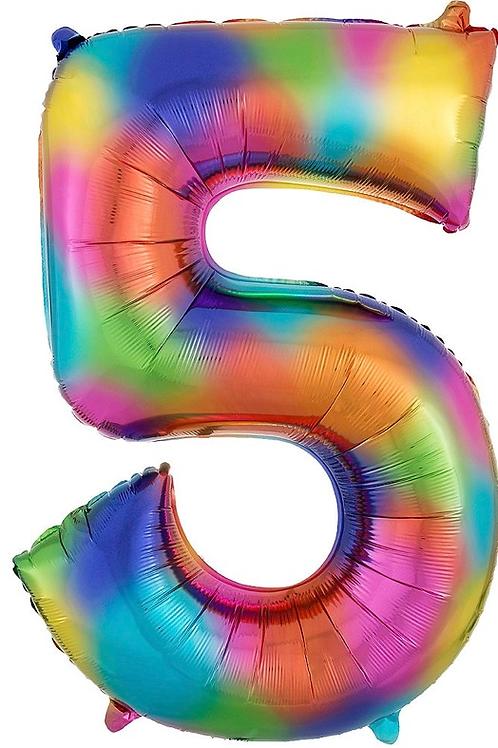 34in Rainbow Splash Number Balloon (5)