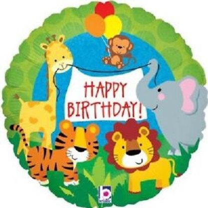 "Jungle Animals Happy Birthday 18"" Mylar"