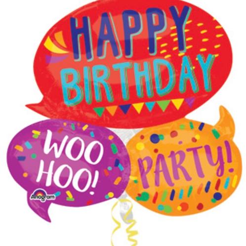 "Large Happy Birthday Words 34"" Mylar (327)"