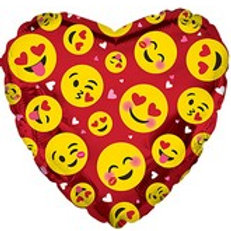 "18"" Emoji Smiley Faces Heart Shaped Balloon"