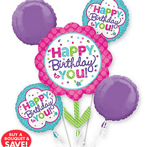Happy Birthday Pink and Teal Bouquet (324)