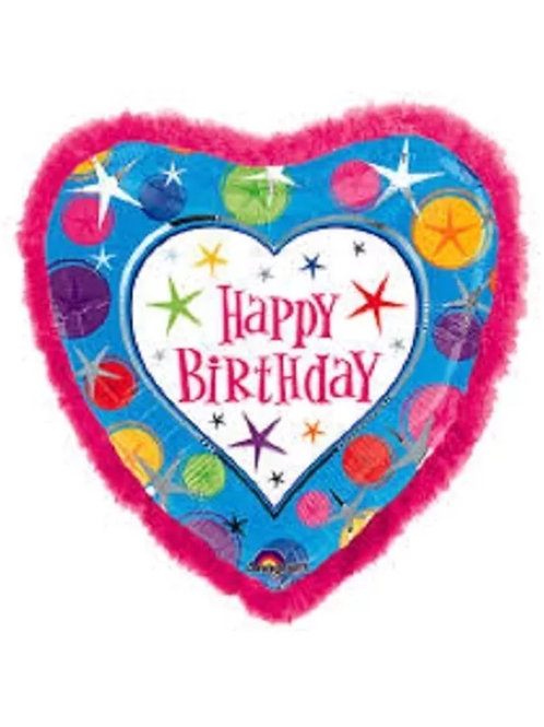 Happy Birthday Heart Shape Mylar Balloon 036