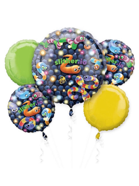 Slither.io Mylar Balloons 5pc