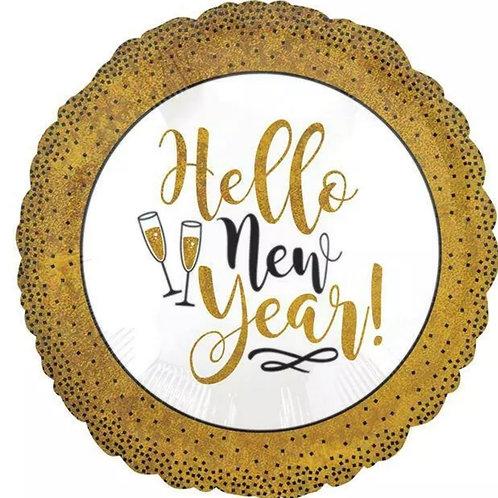 """Gold Glitter New Year 18"""" Mylar"""