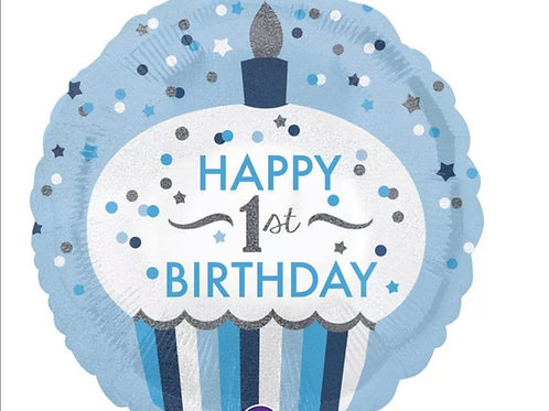 "1st Birthday Blue Cupcake 18"" Mylar"