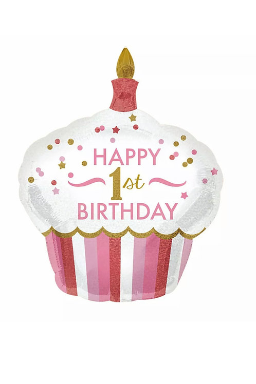"Happy First Birthday Pink 32"""