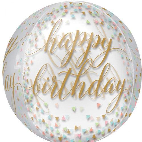 Happy Birthday Pastel Confetti Orb