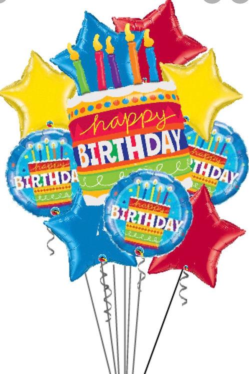 Happy Birthday Cake Balloon Bouquet 10pcs