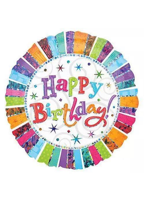 """Happy Birthday Radiant 32"""" Mylar 187"""