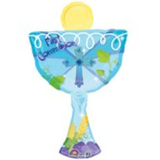 "31"" blue communion balloon"