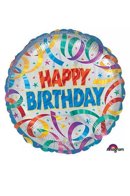 """Happy Birthday Streamer 18"""" Mylar 259"""
