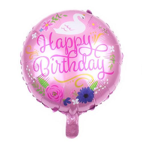 "Happy Birthday Floral Swan Flower Pink Mylar 18"""