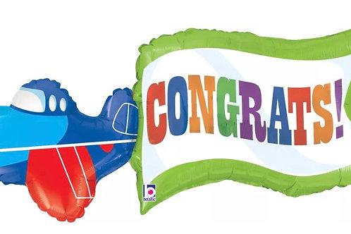 Congrats Air Plane Balloon