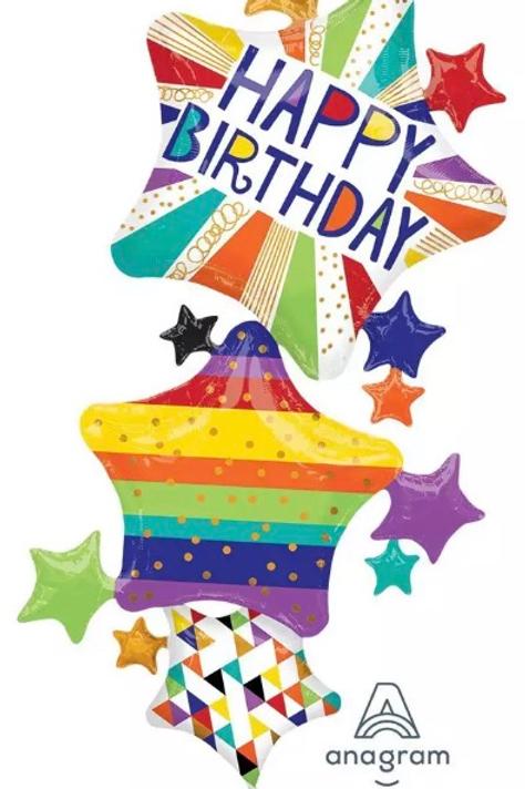 Happy Birthday Bright Multi Star Balloon (277)