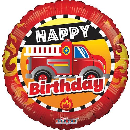 "Happy Birthday Fire Truck 18"" Mylar"