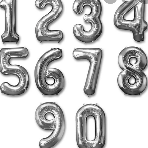 """26"""" Silver Number Balloon"""