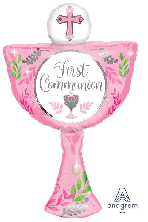 First Communion Pink Mylar