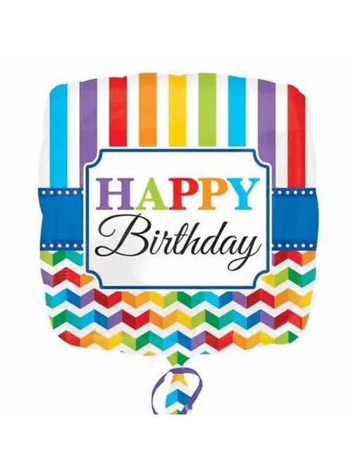 """18"""" Happy Birthday Stripe & Chevron Mylar (161)"""