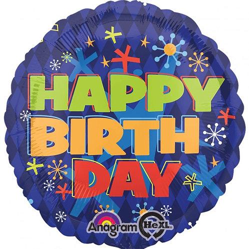 "18"" Happy Bday Mylar Balloon  129"