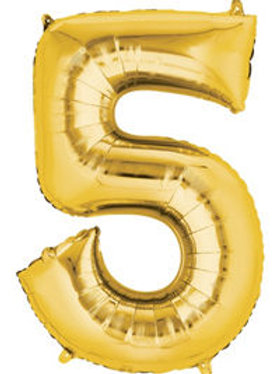 Giant Gold number 5 Balloon