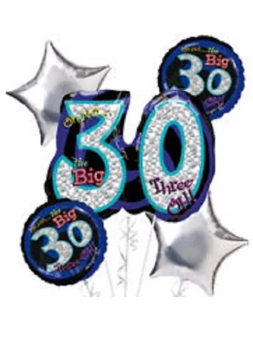 Big 30 Mylar Balloon Bouquet (5pc) 040