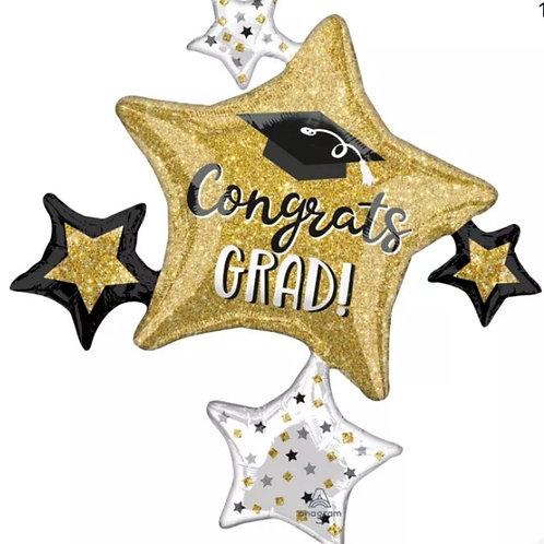 Classy Gold Black White Sparkle Graduation Large Cluster Supershape Balloon