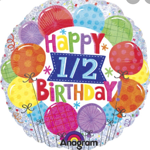 """Happy 1/2 Birthday 18"""" Mylar (270)"""