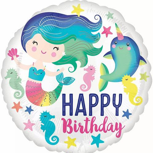 "Colorful Mermaid Happy Birthday 18"" Mylar"