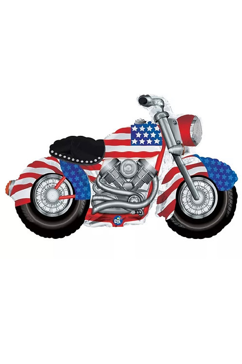 "Motorcycle Patriotic 47"" x 27"" Mylar Balloon"