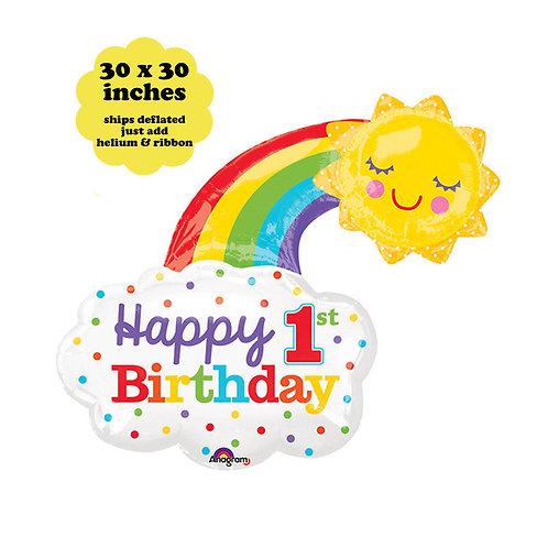 Happy First Birthday Rainbow Sun Balloon