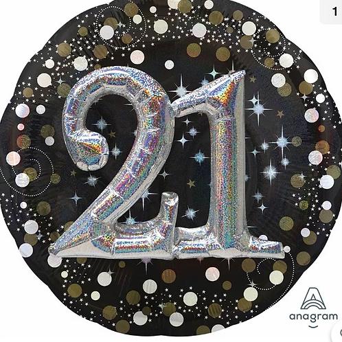 21st Birthday Gold Sparkling Foil Balloon (029)