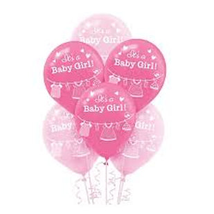 15ct Is a Baby Girl Latex Balloons
