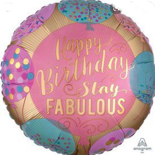 "18"" Happy Birthday Stay Fabulous Balloon"