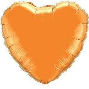 "18"" Orange Heart Mylar Balloon"