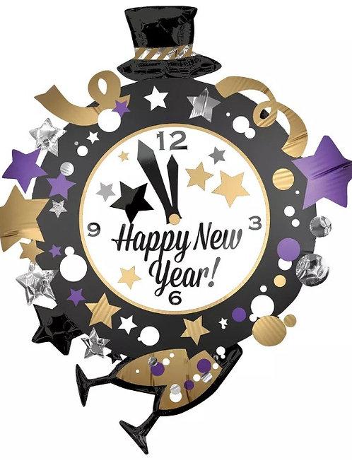 Happy New Year Clock Mylar Balloon