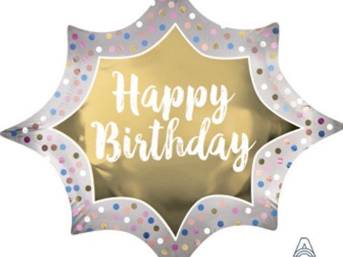 Satin Gold Happy Birthday Balloon