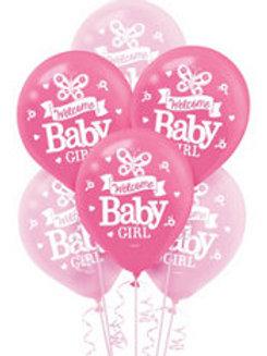 15ct Baby Girl Latex Balloons