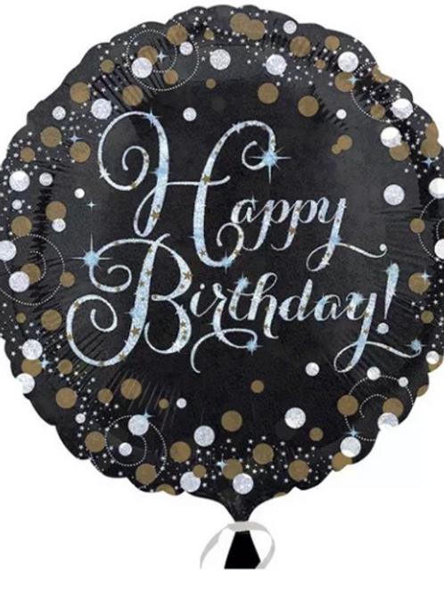 "18"" Black and Gold Happy Birthday Balloon (310)"
