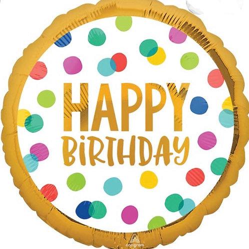 """Happy Birthday Dots 33"""" Mylar (294)"""